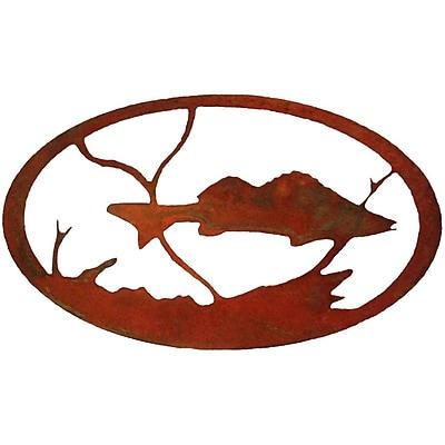 7055 Inc Fish Oval Wall D cor; Natural Rust Patina