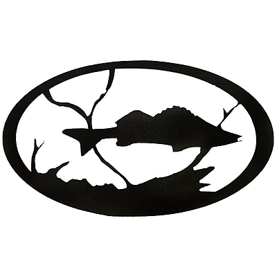 7055 Inc Fish Oval Wall D cor; Hammered Black