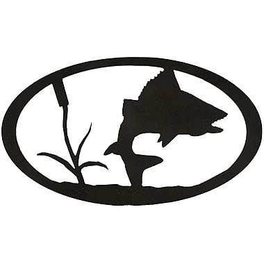 7055 Inc Turning Fish Oval Wall D cor; Hammered Black