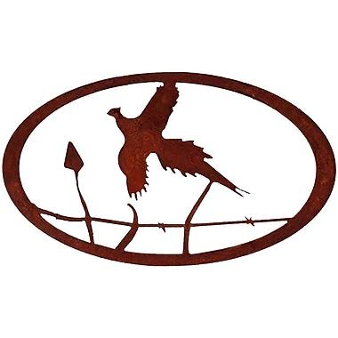 7055 Inc Pheasant Oval Wall D cor; Natural Rust Patina