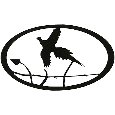 7055 Inc Pheasant Oval Wall D cor; Hammered Black
