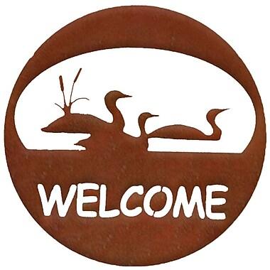 7055 Inc Loon Welcome Circle Wall D cor; Natural Rust Patina
