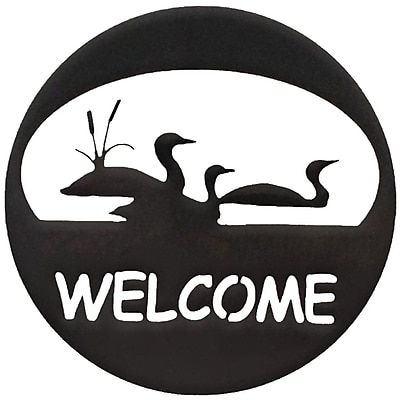 7055 Inc Loon Welcome Circle Wall D cor; Hammered Black