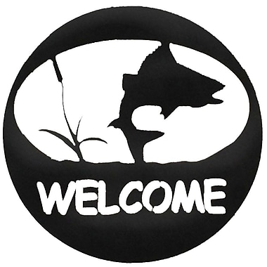 7055 Inc Turning Fish Welcome Circle Wall D cor; Hammered Black