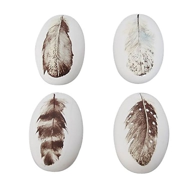 Sagebrook Home 4 Piece Resin Stone w/ Feather Decal Wall D cor Set; Brown/White