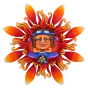 Novica Flight to the Sun Mexican Artisan Crafted Airplane Theme Sun Sculpture Wall D cor