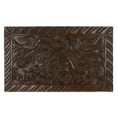 Novica Equestrian Nobility Artisan Crafted Wood Relief Panel Featuring Birds and Horses Wall D cor