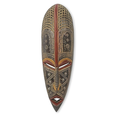 Novica Ekene Artisan Crafted w/ Metal Accents African Wood Mask Wall D cor