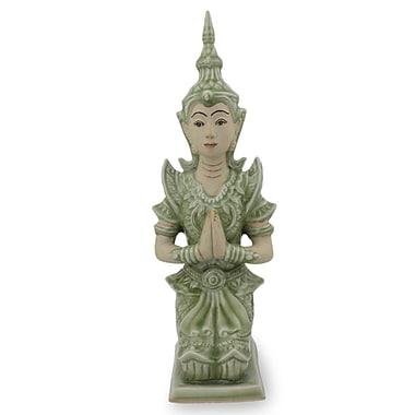 Novica Divine Guardian Spiritual Thai Guardian Celadon Ceramic Figurine