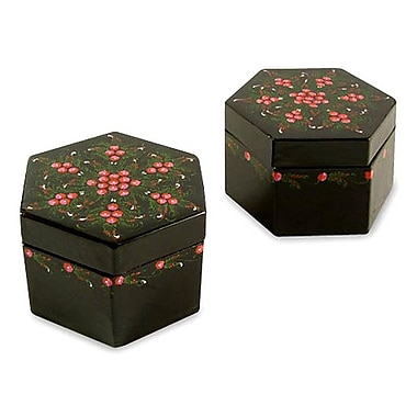 Novica Decorative Floral Octagons Handmade Lacquered Mango Wood Boxes (Set of 2)