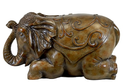 Urban Trends Resin Trumpeting while Laying Elephant Oil Finish Bronze