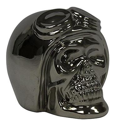 Sagebrook Home Decorative Ceramic Skull; Silver