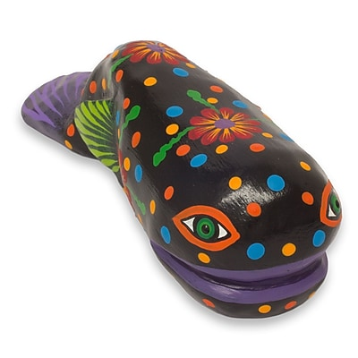 Novica Flirty Whale Flowery Whale Alebrije Wood Crafted Figurine