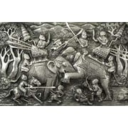 Novica Duel of Elephants Aluminum Repousse Panel Wall D cor