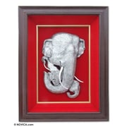 Novica Father Elephant and Sons Aluminum Repousse Panel Wall D cor
