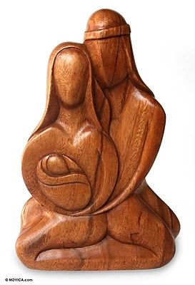 Novica Family Intimacy Wood Figurine