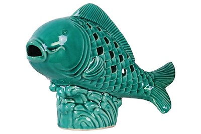 Urban Trends Fish Figurine; Turquoise