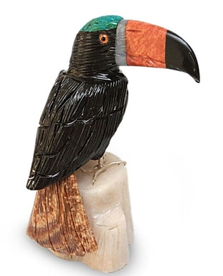 Novica Toucan Onyx and Jasper Figurine