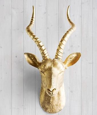 Wall Charmers Maasai Faux Taxidermy Antelope Head Wall D cor; Gold