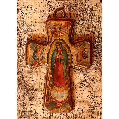 Novica Guadalupe, Queen of Heaven Decoupage Cross Wall D cor