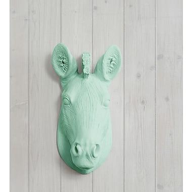 Wall Charmers Kalahari Faux Taxidermy Mini Zebra Head Wall D cor; Mint Green