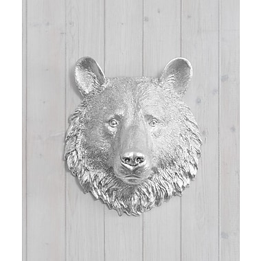 Wall Charmers Kodiak Faux Taxidermy Mini Bear Head Wall D cor; Silver
