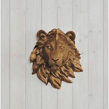 Wall Charmers Saharan Faux Taxidermy Mini Lion Head Wall D cor; Bronze