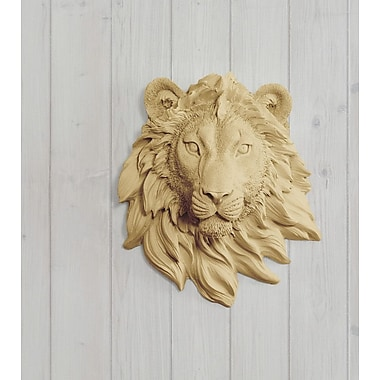Wall Charmers Saharan Faux Taxidermy Mini Lion Head Wall D cor; Khaki Brown