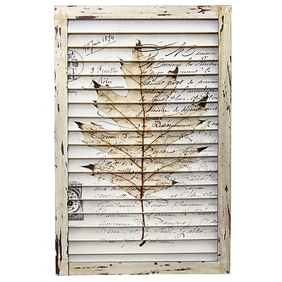 Nearly Natural Malone Maple Leaf Window Shutter Wall D cor