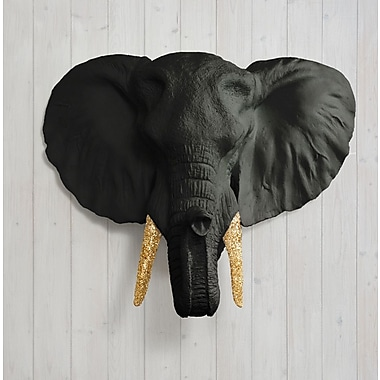 Wall Charmers Savannah Faux Taxidermy Elephant Head Wall D cor; Black/Gold Glitter