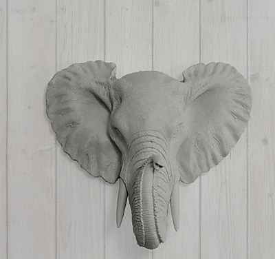 Wall Charmers Savannah Faux Taxidermy Mini Elephant Head Wall D cor; Gray