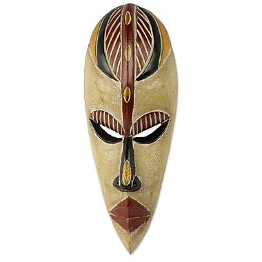 Novica Original African Mask of Happiness Carved Wall D cor