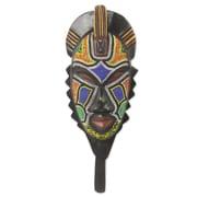 Novica Original African Beaded Mask of Swahili Medicine Man Wall D cor