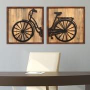 Stratton Home Decor 2 Piece Retro Bicycle Panels Wall D cor Set