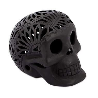 Novica Oaxaca Pottery Floral Skull Bust