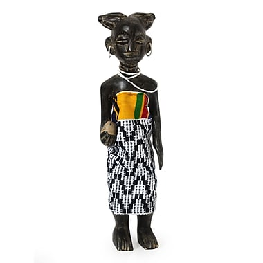 Novica African Wood Dressed in Beads and Kente Figurine