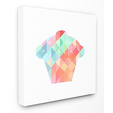Stupell Industries Graphic Rainbow Cupcake Stretched Canvas Wall Art