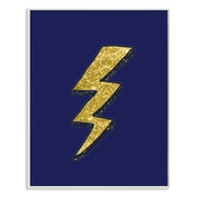 Stupell Industries Graphic Lightning Bolt Gold and Navy Wall Plaque