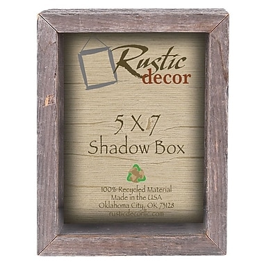 RusticDecor Barn Wood Collectible Shadow Box Wall Decor; 8'' H x 6'' W x 4'' D