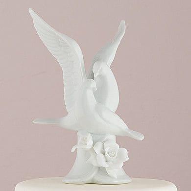 Weddingstar Glazed Porcelain Doves and Flowers Figurine
