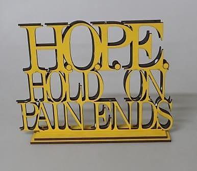Womar Glass Motivational Sign Hope; Gold