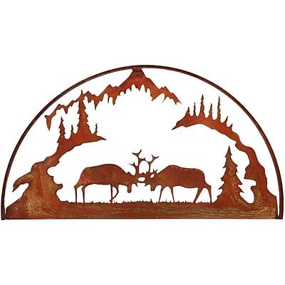 7055 Inc Fighting Elk Hoop Wall D cor; Natural Rust Patina