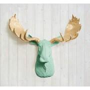 Wall Charmers Alberta Faux Taxidermy Moose Head Wall D cor; Mint Green/Gold