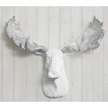 Wall Charmers Alberta Faux Taxidermy Moose Head Wall D cor; White/Silver Glitter