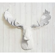 Wall Charmers Alberta Faux Taxidermy Moose Head Wall D cor; White/Silver