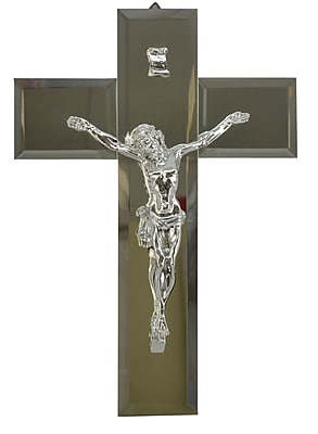 Three Star Decorative Jesus on Mirrored Cross; Silver