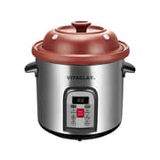 VitaClay 6 in 1 Smart Multi-Crock n' Stock Pot,  6.5Qt, Brushed Stainless Steel