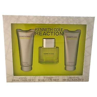 Kenneth Cole Reaction Set, Men, 3/Piece 1.7oz EDT Spray,3.4oz After Shave Gel,3.4oz Hair & Body Wash