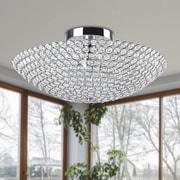 JoJoSpring Leila 3-Light Bowl Shaped Crystal Semi Flush Mount