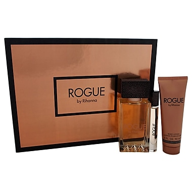Rihanna Rogue Set, Women, 3/Piece 4.2oz EDP Spray, 0.2oz EDP Rollerball, 3oz Body Lotion